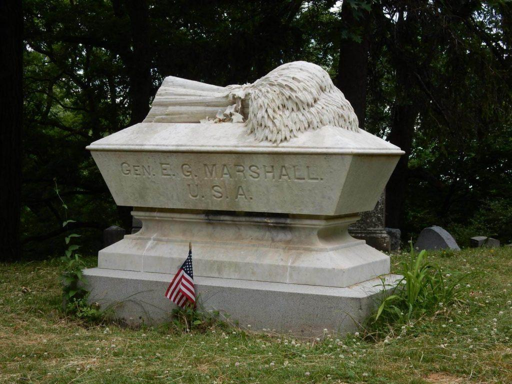 Marshall Monument A shock of wheat represents God's harvest photo by Don Hall Mount Hope Cemetery