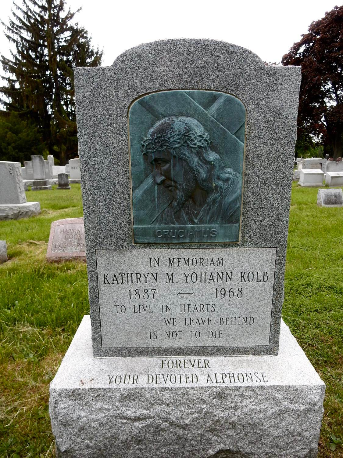 Alphonse Kolb created this bas relief - photo by Don Hall - Mount Hope Cemetery