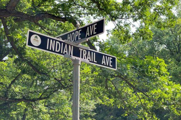 Indian Trail Ave and Hope Ave Street Signs Rochester NY
