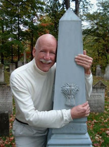 Don Hall with zinc monument