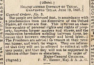 Emancipation Announcement Galveston Newspaper