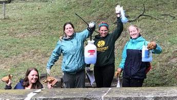 volunteers cleaning gravestones