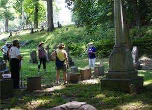 visitors enjoy popup historians