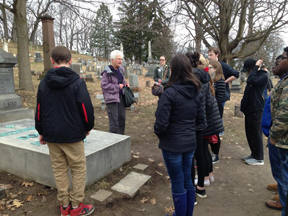 tour group at Frederick Douglass grave